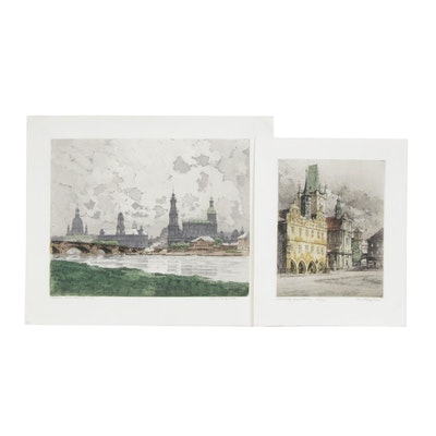 Rudolf Veit Hand-Colored Etchings