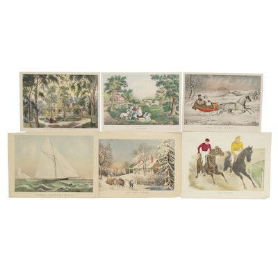 Currier & Ives Hand Colored Lithographs