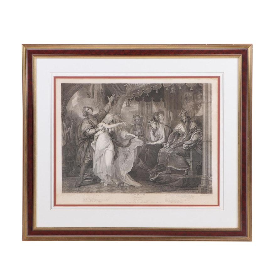 """Francis Legat Engraving """"Shakspeare: Hamlet, Act 4 Scene 5"""""""