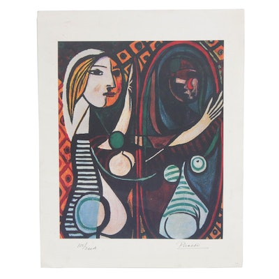 """Lithograph After Pablo Picasso """"Girl Before a Mirror"""""""