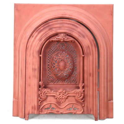 Painted Cast Iron Summer Fireplace Screen with Frame