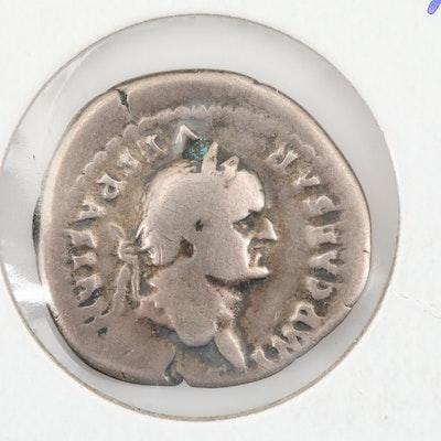 Ancient Roman Vespasian Silver Denarius, Circa 69-79 AD