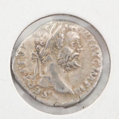 Ancient Roman Septimius Severus Silver Denarius, Circa 194 AD