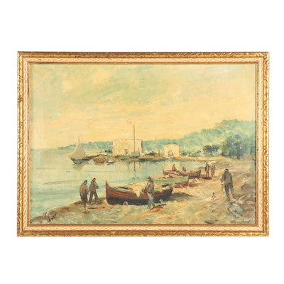 Oil Painting of a Seaside Scene
