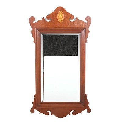 Chippendale Style Wood Marquetry Mirror