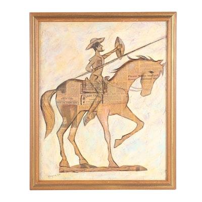 Erasmo Vargas Mixed Media Composition of Don Quixote