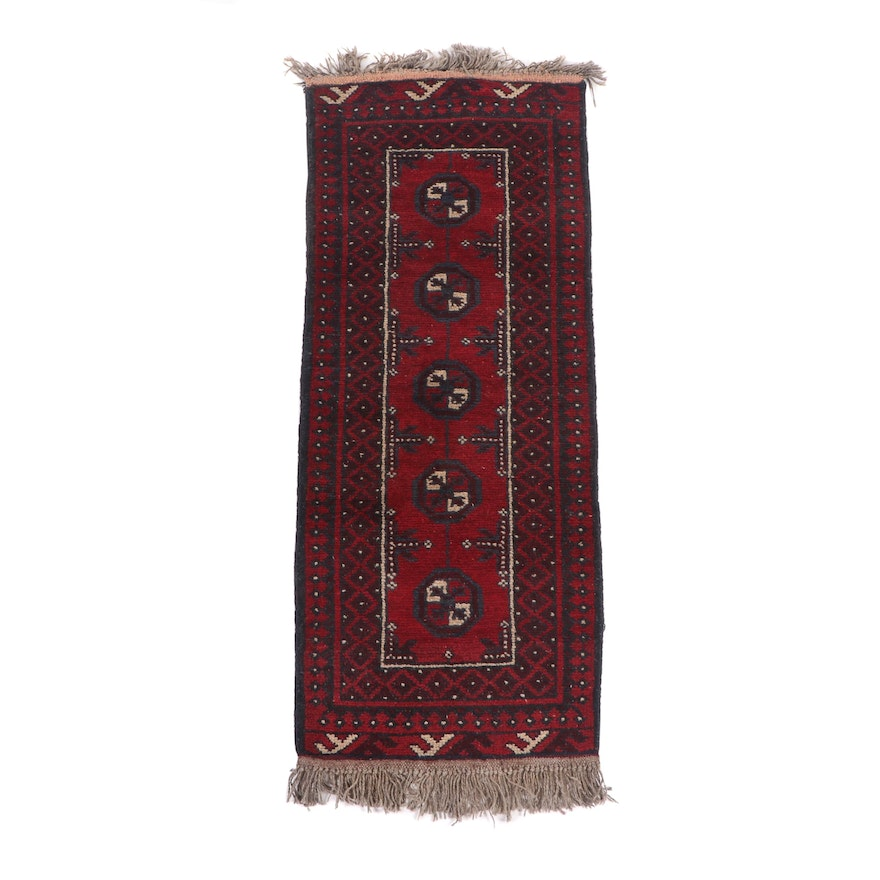 Hand-Knotted Afghan Bokhara Wool Rug