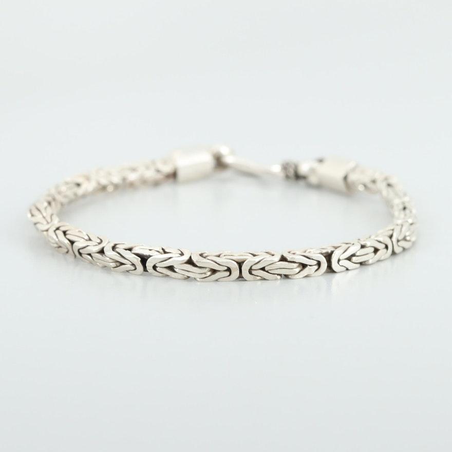 153616d23d166 Sterling Silver Square Byzantine Link Bracelet
