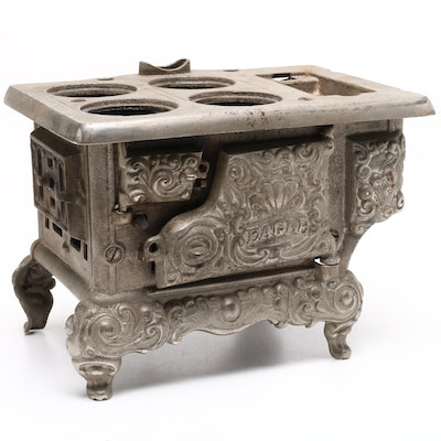 Lancaster Brand Eagle Cast Iron Miniature Toy Stove, Early to Mid 20th Century