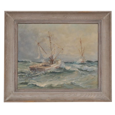 Paul C. Unterzuber Ships at Sea Oil Painting