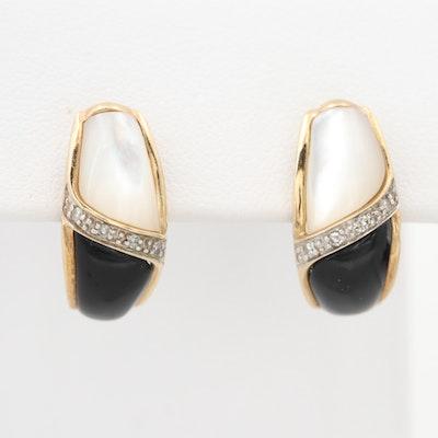 10K Gold Diamond, Mother of Pearl, and Black Onyx J Hoop Earrings