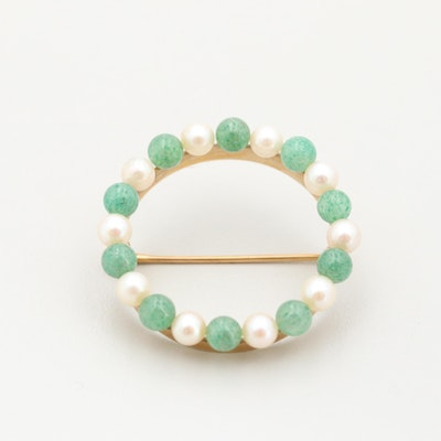 Vintage 14K Yellow Gold Cultured Pearl and Aventurine Circle Brooch
