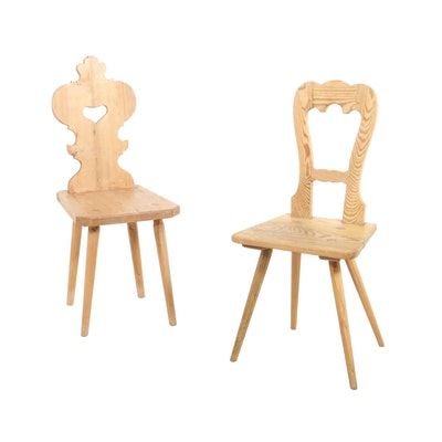 Rustic Pine Carved Back Side Chairs