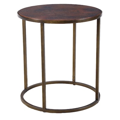 Hammery Furniture Copper Finish Top End Table, Contemporary