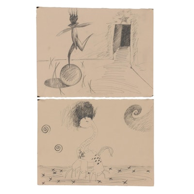 Merle Rosen Abstract Graphite Drawings