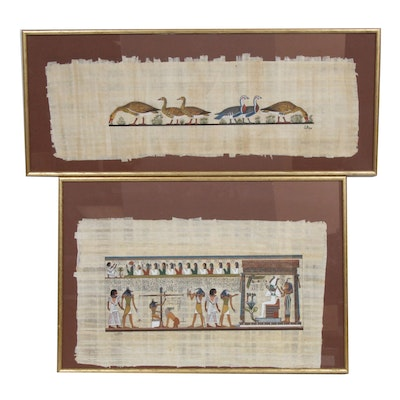 Egyptian Style Gouache Paintings on Papyrus
