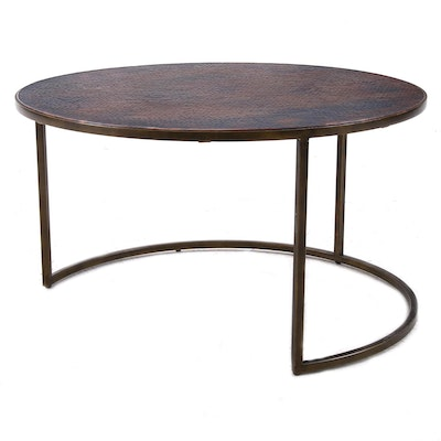 Hammery Furniture Copper Finish Top Coffee Table, Contemporary