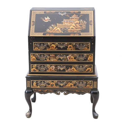 Maddox Chinoiserie Paint-Decorated Black Lacquer Secretary Desk with Drop-Front