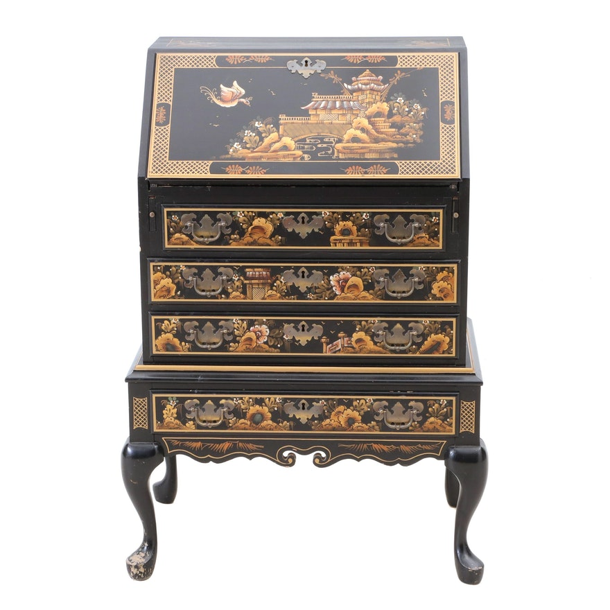 Superb Maddox Chinoiserie Paint Decorated Black Lacquer Secretary Download Free Architecture Designs Rallybritishbridgeorg