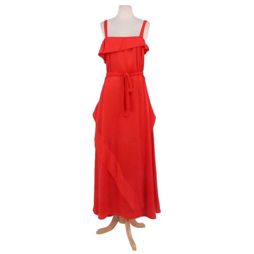 Malene Birger Red Silk Sleeveless Dress with Tie Belt