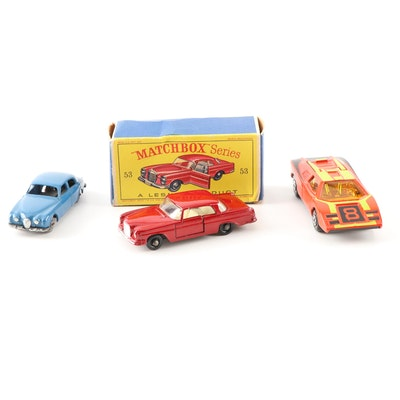 Matchbox 1959 Jaguar, 1963 Mercedes and 1973 Lamborghini Die-Cast Model Cars