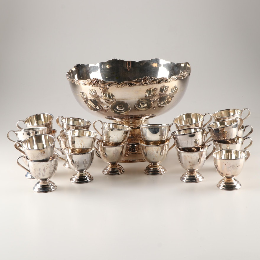 Silver Plate Punch Bowl and Cups