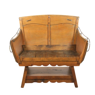 Antique Carriage or Sleigh Bench as a Hall Bench, 19th Century and Later