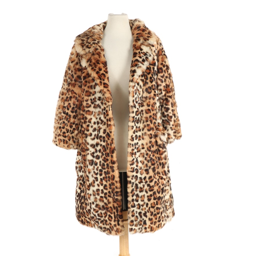 Ebner Haus Dyed Leopard Rabbit Fur Coat, 1970s Vintage