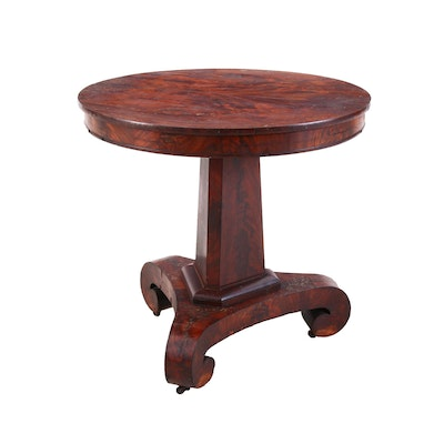 Victorian Flame-Grain Mahogany Tilt-Top Table