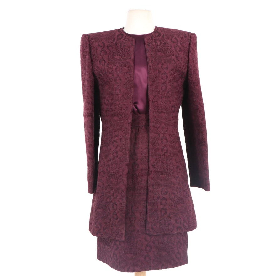 Mary McFadden Couture Silk Three-Piece Skirt Suit, 1980s Vintage