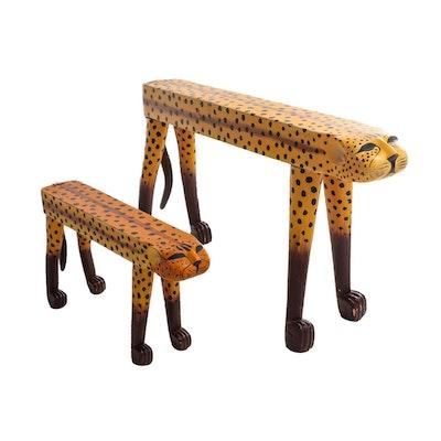 Handcrafted Wooden Folk Art Cheetah Sculptures