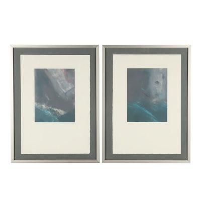 """Richard Hall Monoprints """"Carvings #3 and #6"""""""