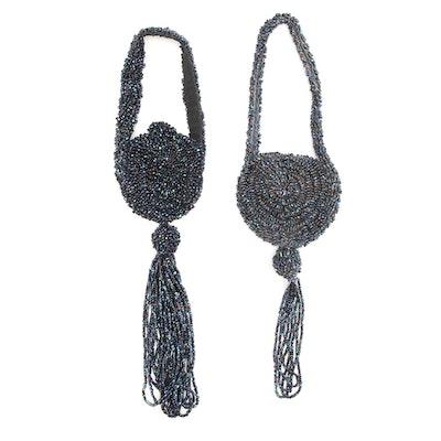 Handmade Blue Iridescent Beaded Crochet Knit Flapper Style Purses, Vintage