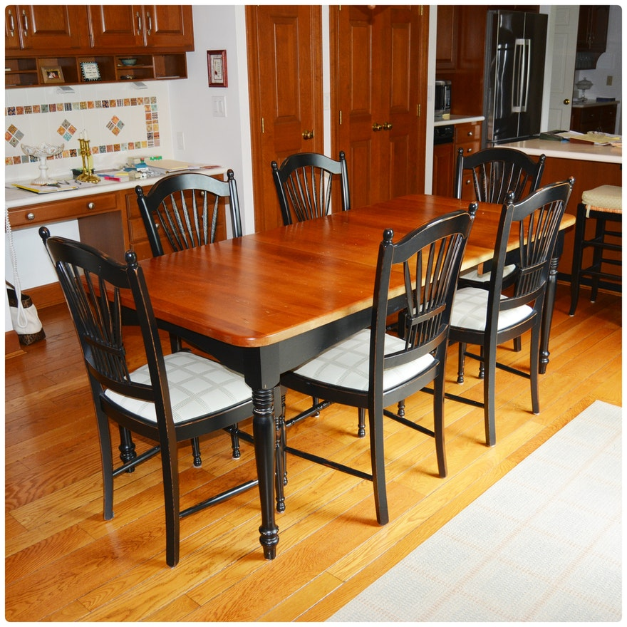 Lyndon Cherry And Black Painted Kitchen Table With Arhaus Black Dining Chairs