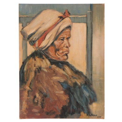 "R.A. Brown Oil Painting ""The Griqua Woman"""