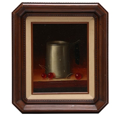 Cup with Cherries Still Life Oil Painting