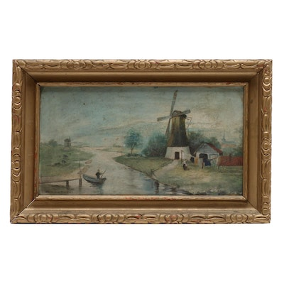 Martha Jane Andrews Oil Painting of River Scene with Windmill