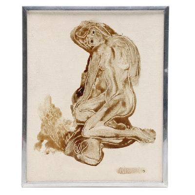 Harold C. Kimball Sgraffito Figurative Oil Painting