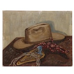 A. Galloway Cowboy Themed Still Life Oil Painting