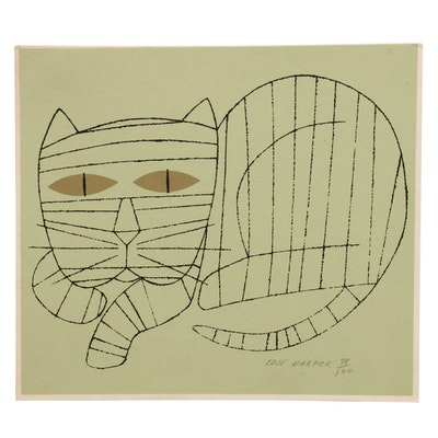 """Edie Harper Serigraph """"Cat with Gold Eyes"""""""