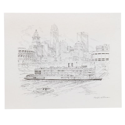 """Lithograph After Caroline Williams """"Our Changing Riverfront"""""""