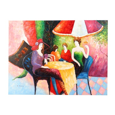 Abstract Cafe Scene Oil Painting After Itzchak Tarkay