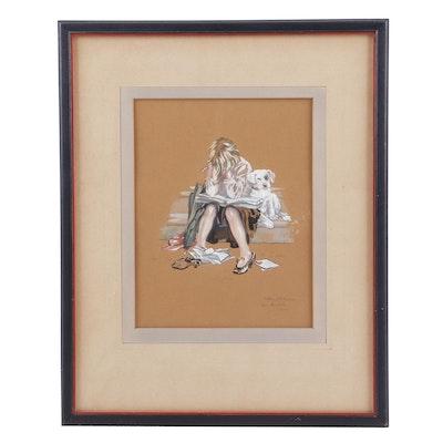 """Nancy Dyer Gouache Painting """"En Deuille - Paris"""""""