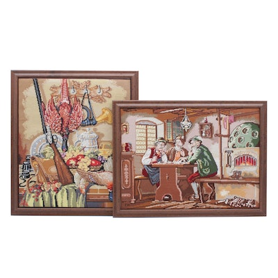 Hand-Stitched Needlepoint Panels of Genre Scene and Still Life