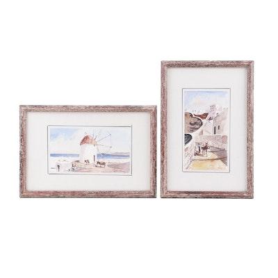 Mediterranean Landscape Watercolor Paintings