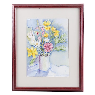Evelyn Schein Floral Still Life Watercolor Painting