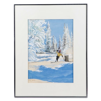 Raul Gouache Painting of and Alpine Landscape