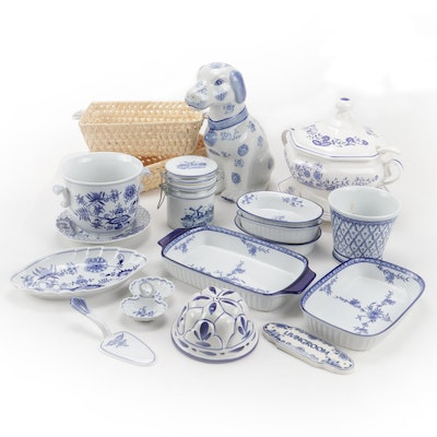 Blue and White Ceramic Decor and Tableware Including Bohemia Zwiebelmuster