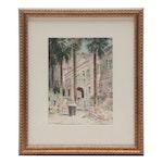 Paul Ashbrook Watercolor of Garden Scene with Figures