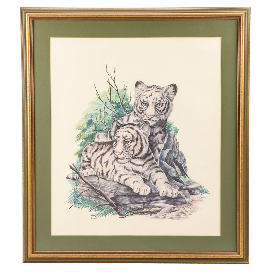 W.D. Gaither Offset Lithograph of Tigers